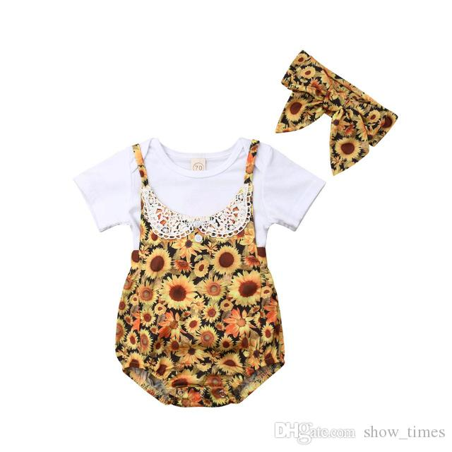 f41fd7a6dfc 2019 New Fashion Newborn Baby Girls Sunflower Tops Romper Floral Pants  Headband Summer Outfit Set Clothes From Show times