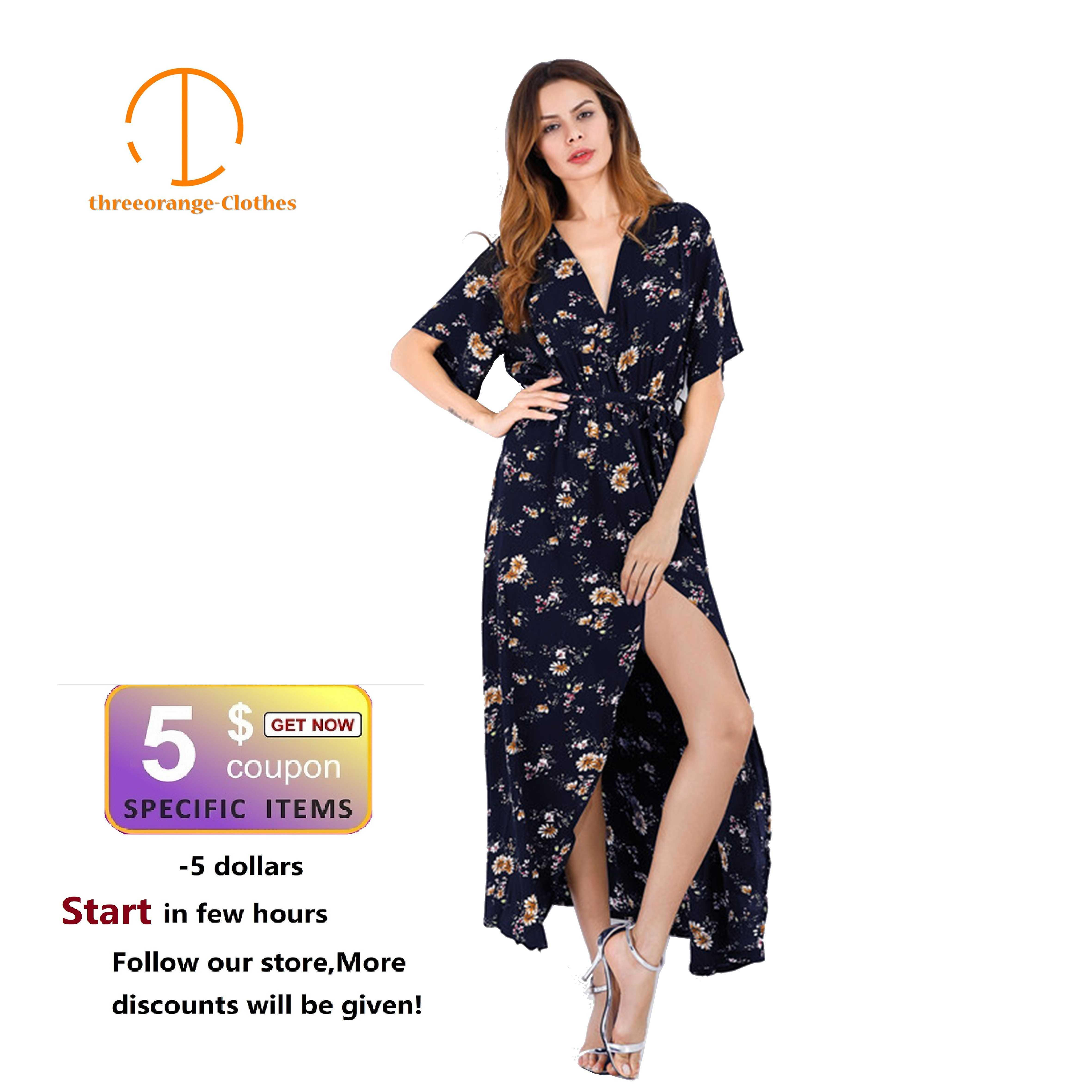 a20e79ee81533 Robe Vintage Floral Sexy V Neck Bow Knot Sashes Slit Loose Print Boho Long  Elegant Women Evening Or Summer Beach Dresses C19041901