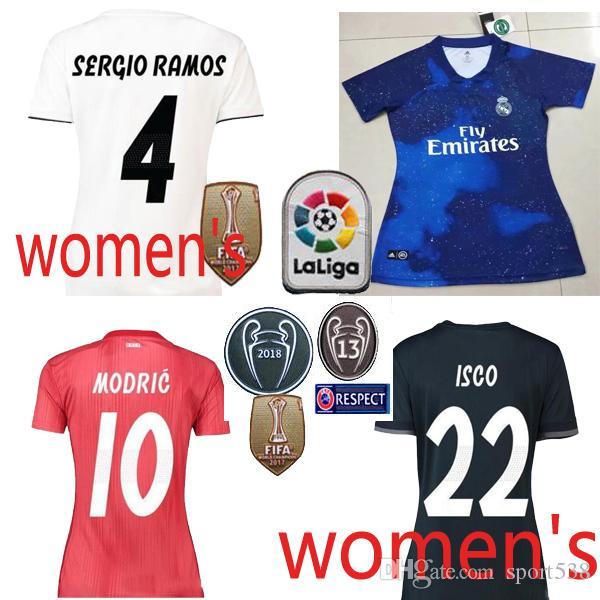 9447e14bbddd2 2018 2019 Real Madrid En Casa Camiseta De Fútbol Modric Para Mujer 18 19 Real  Madrid Mujer Edición Limitada Azul Camisetas De Fútbol De Kroos Isco Por ...