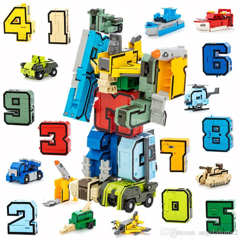 Transformation Robot Toy Bricks 10 Digit Number Symbol Fighter Warship Figures Building Blocks Creator Toys Gifts