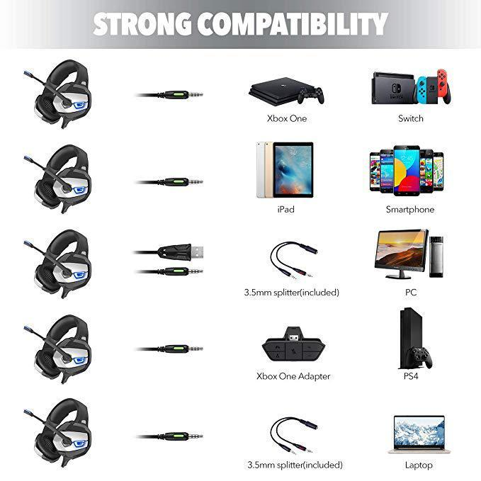 K5 Stereo Gaming Headset for PS4, Xbox One PC Enhanced 7.1 Surround Sound Mic Headphones for Nintend Switch Laptop r20