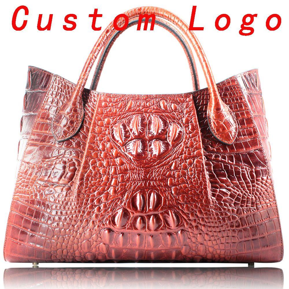 165a8a437df Genuine leather women big tote bags Embossed Crocodile Handbags for Ladies  Designer Purses Top Handle Shoulder Bag