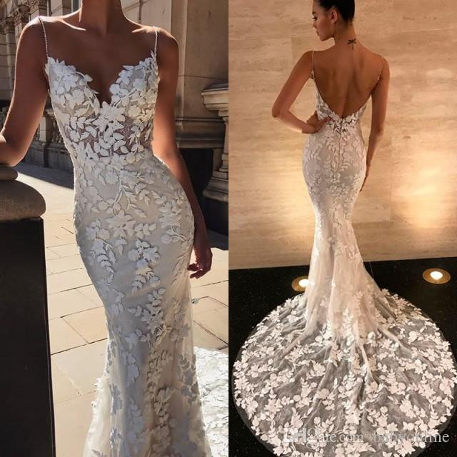 2019 Embroidery Lace Mermaid Wedding Dresses Spaghetti Straps Beaded Backless Bridal Gowns Sleeveless Plus Size Wedding Dress BC0292