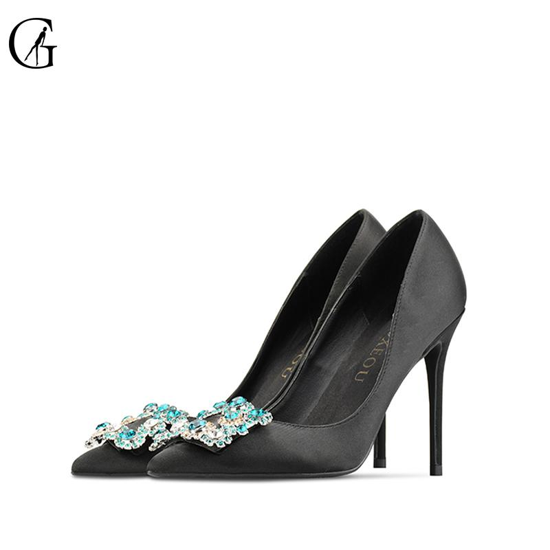 53c372624d8 GOXEOU Womens shoes High heels size 32-46 Sexy pointed teo Shallow Thin  heels Silk 2018 Pumps Business Party wedding shoes