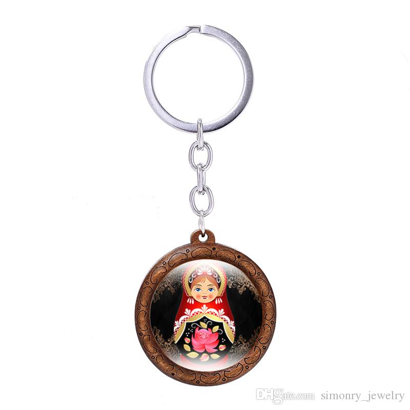 Russian Doll Key Chain Wood Glass Cabochon Love Keyring Handmade Key Holder Keychains Romantic Gift Jewelry