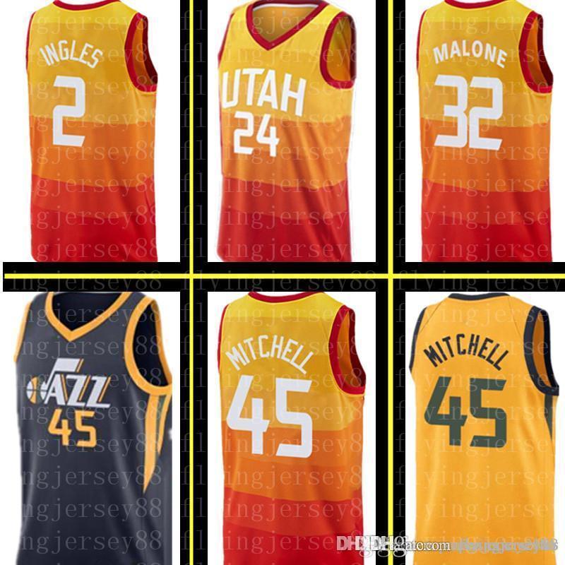 hot sale online f0330 d982e Jazzs Joe 2 Ingles Utah City Jersey Grayson 24 Allen Donovan 45 Mitchell  Karl 32 Malone Ricky 3 Rubio Rudy 27 Gobert Jerseys Embroidery