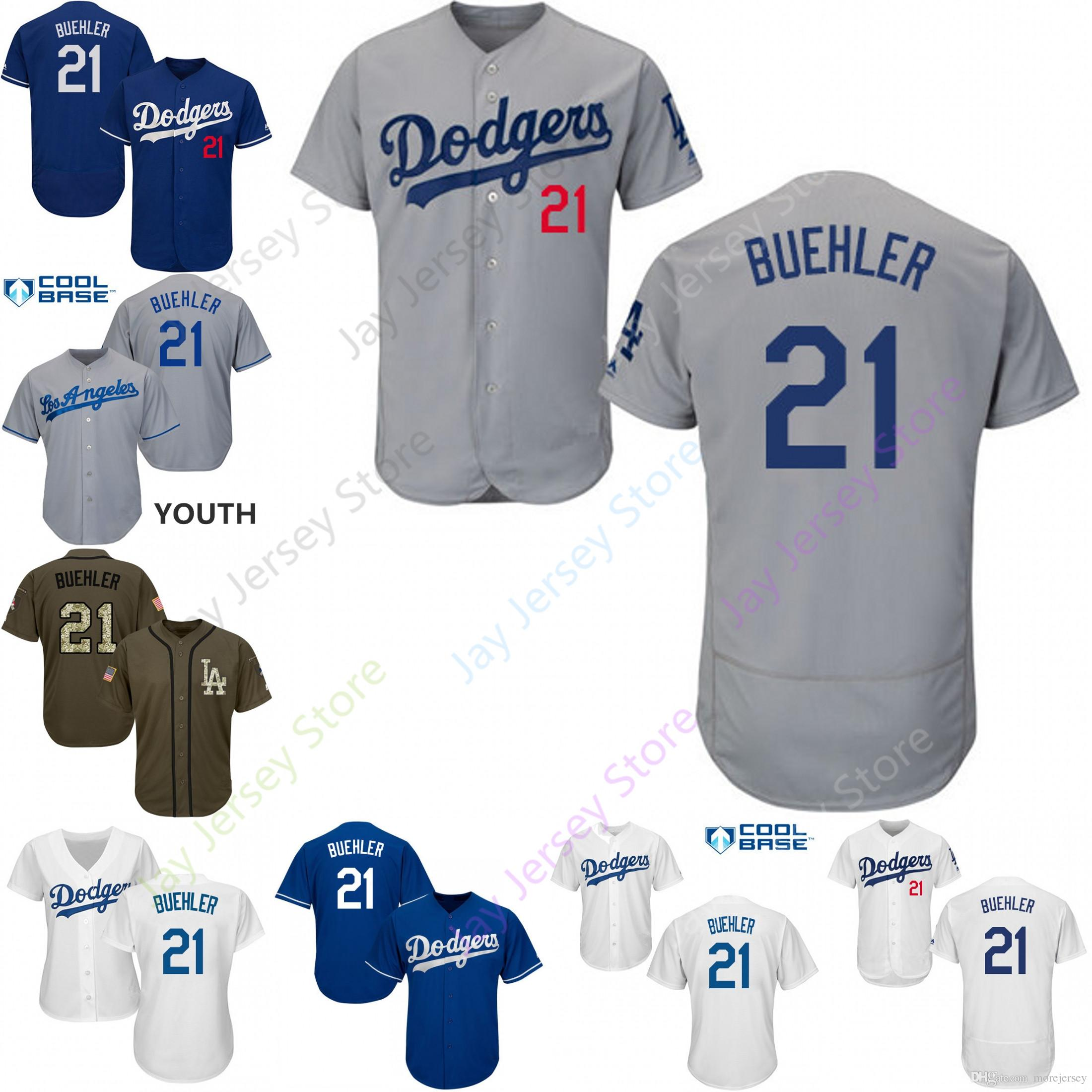 newest collection 2aaec 176a5 2019 Los Angeles 21 Walker Buehler Jersey Dodgers Jerseys Cool Base  Flexbase Home Away White Black Red Grey Pullover Button Men Women Youth
