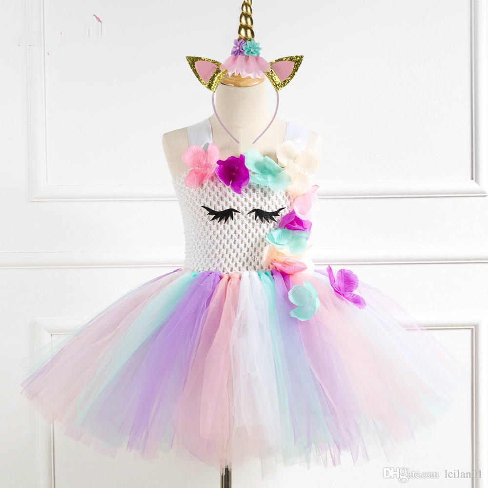 16c2cb1a29b Flower Girls Unicorn Tutu Dress Pastel Rainbow Princess Girls Birthday  Party Dress Children Kids For 2 12 Year Quinceanera Dresses Dresses Online  From ...