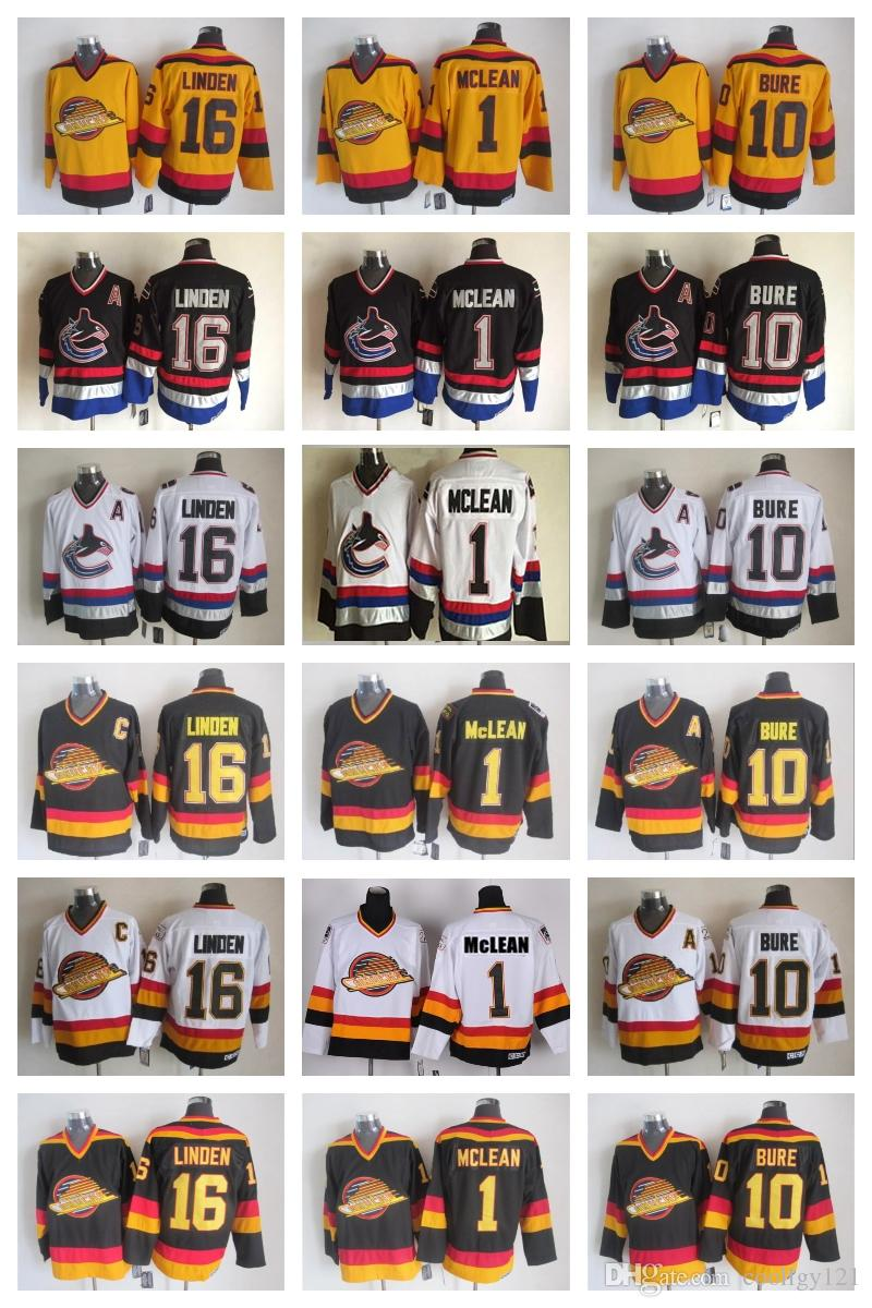 1a1fd2a71 Top Quality Vintage Vancouver Canucks Jerseys 16 Trevor Linden Jersey 1  Kirk Mclean 10 Pavel Bure Stitched Mens Ice Hockey Jerseys Shirts UK 2019  From ...