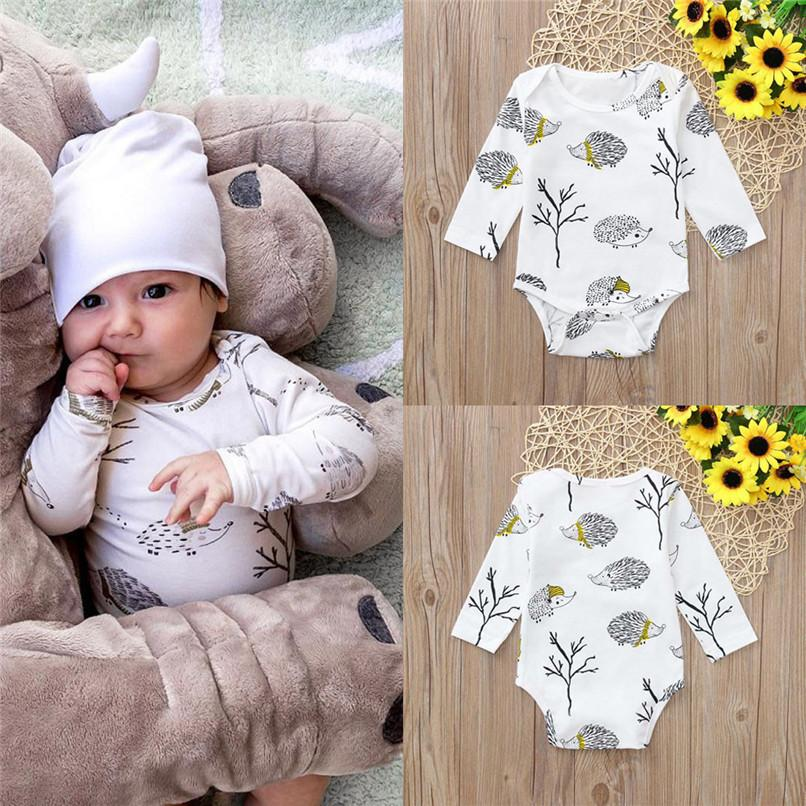 2f4d810dc 2019 Winter Baby Clothes Newborn Infant Baby Girls Boys Long Sleeve Cartoon  Hedgehog Print Jumpsuit Romper Clothes Baby Romper S07 From Usefully11, ...