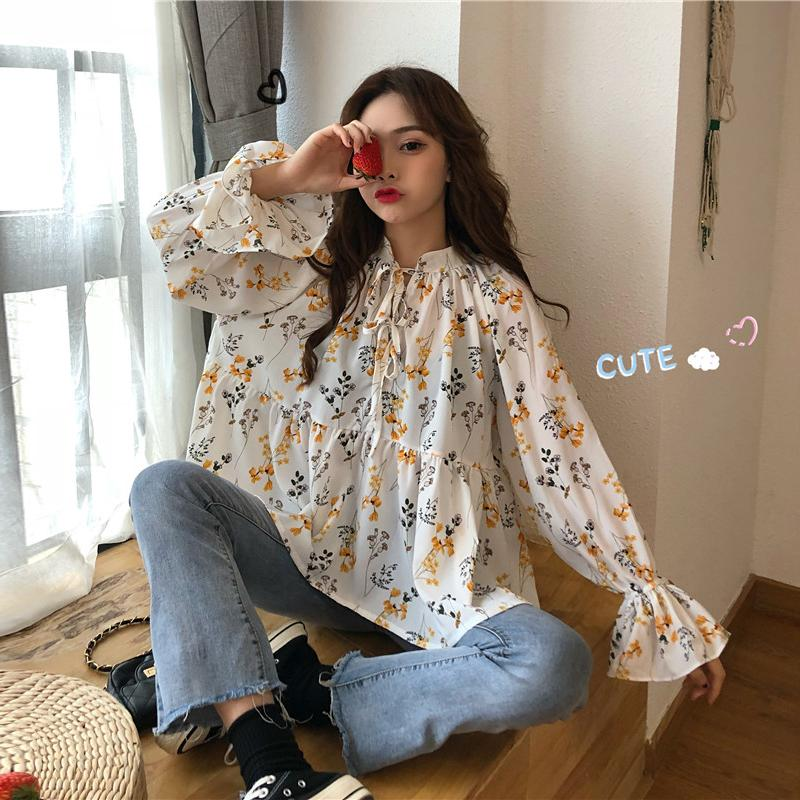 aa72d9f75707c9 2019 Women Fresh Loose Blouse Shirts Fashion Stand Collar Lace Up Flare  Sleeve Floral Print Kawaii Shirt Female Spring Sweet Blusas From Pleated