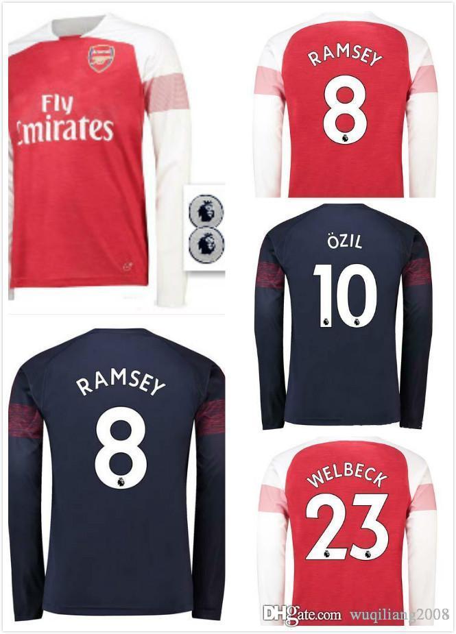 89f4c0ea681 2018 2019 Gunners OZIL AUBAMEYANGA Away Long Sleeve Soccer Jersey 18 19  ALEXIS WILSHERE MKHIARYAN LACAZETTE ARSENal XHAKA Football Shirts Arsenal  Long ...
