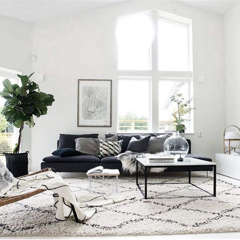INS Kilim Handmade Morocco Carpets For Living Room Geometric Bohemia Indian  Bedroom Rug Plaid Striped Black White Design Nordic