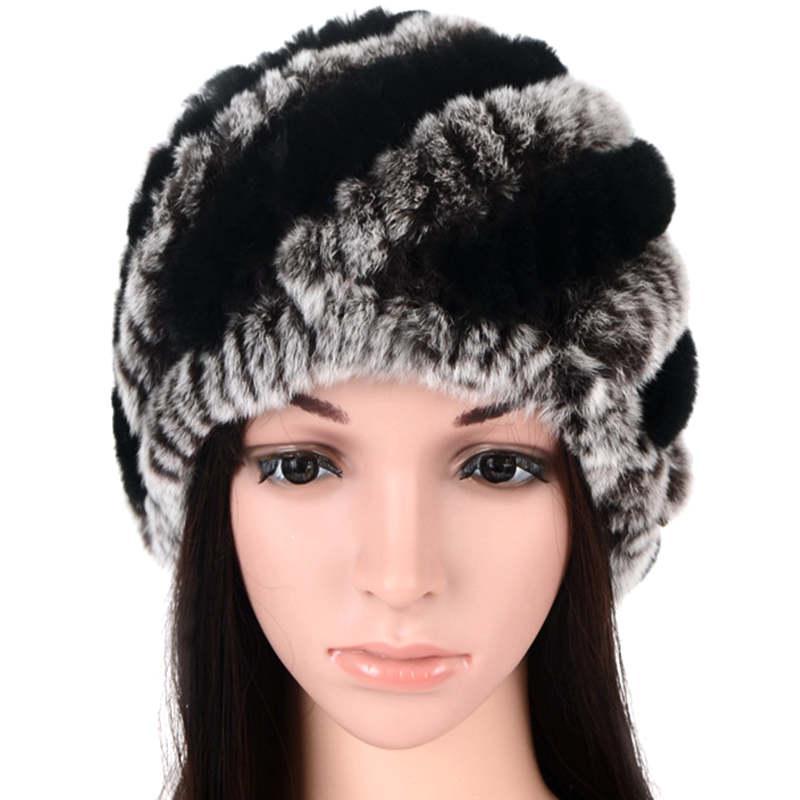 c786c429 Mujeres sombreros de invierno piel de conejo de punto skullies gorritas  invierno cálido gorro invierno gorros mujer capo femme señora streetwear ...