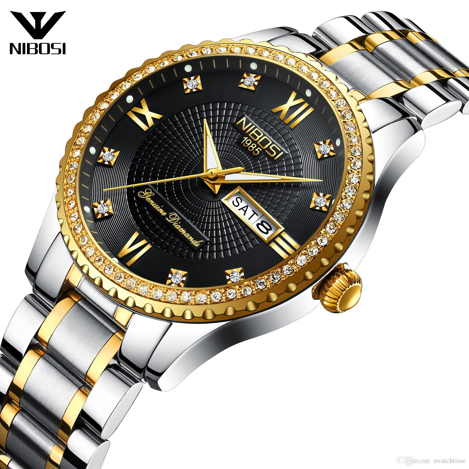 2019 Hot Selling Mens Classic Diamonds Stainless Steel Quartz Watch Mens Christmas Gift Watch