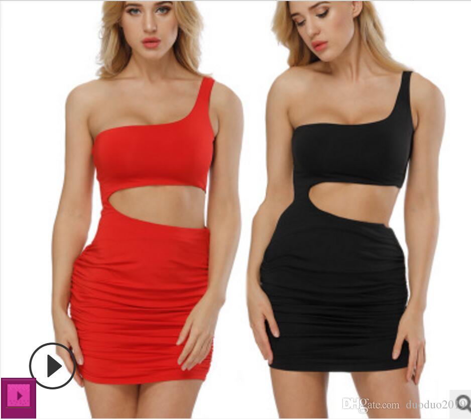 cac2f01ce 2019 Vestidos de mujer más nuevos faldas cortas Playa de vacaciones vestido  de discoteca Falda de glúteos sexy Vestido de un solo hombro negro ...