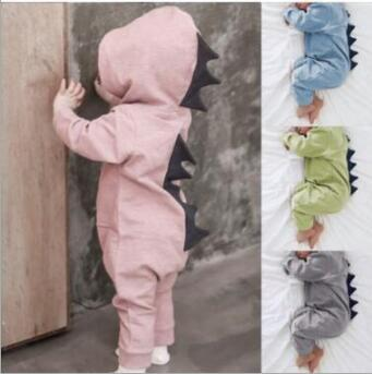 65ab2ca6c9b6 2019 Baby Dinosaur Romper Infant Long Sleeve Hooded Jumpsuits Cartoon  Fashion Ins Dinosaur Jumpsuit KKA6316 From Kids dress