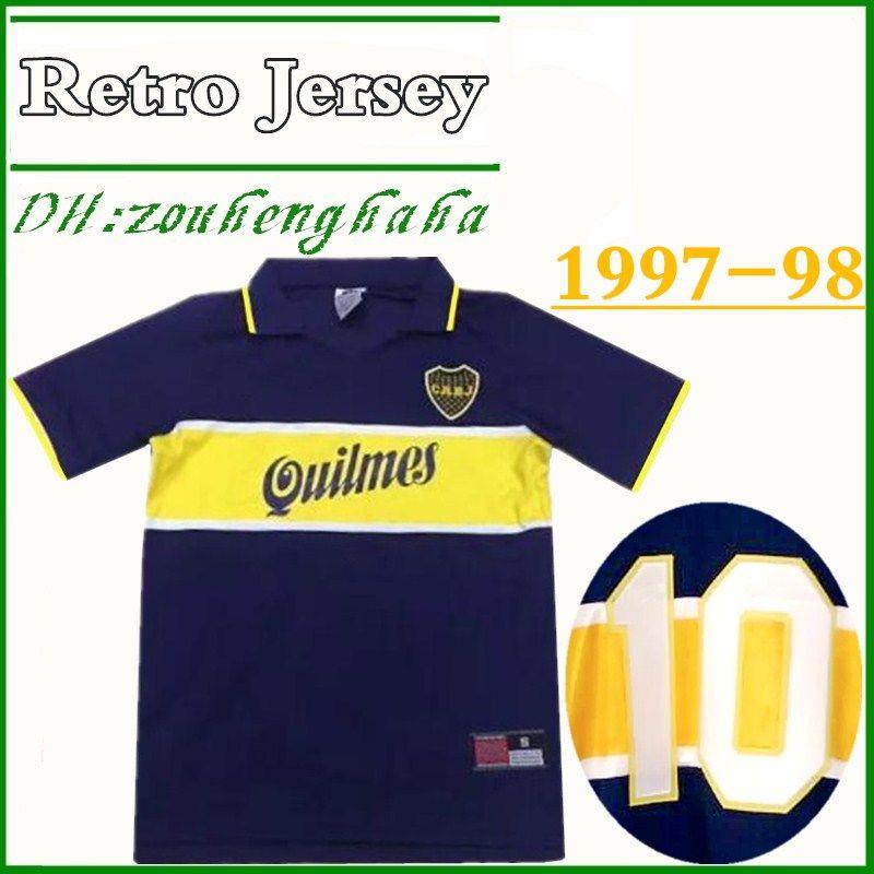 d3069108fa0 2019 1997 98 Boca Juniors Home MALADONA #10 Retro Soccer Jersey 97 98 Diego  Maradona Caniggia Palermo Vivas Solano Return Football Shirt From  Zouhenghaha, ...