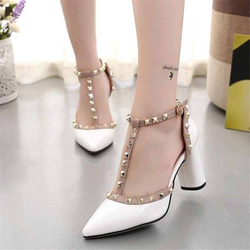 Designer Dress Shoes 2019 Sexy Hasp Rivet Heels Female Leather High-heeled Pumps Stiletto Heel 6.5 Cm Pointed Toe Hollow Ventilation Woman