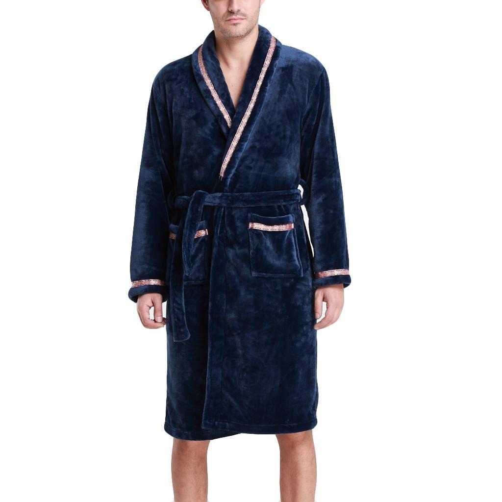 a016743b3b86a Acheter 2019 En Soldes Hommes De Luxe Peignoir D'hiver Pour Hommes Chaud  Soie Flanelle Long Kimono Peignoir Peignoir Mâle Peignoirs De Nuit Peignoir  # H4B3 ...