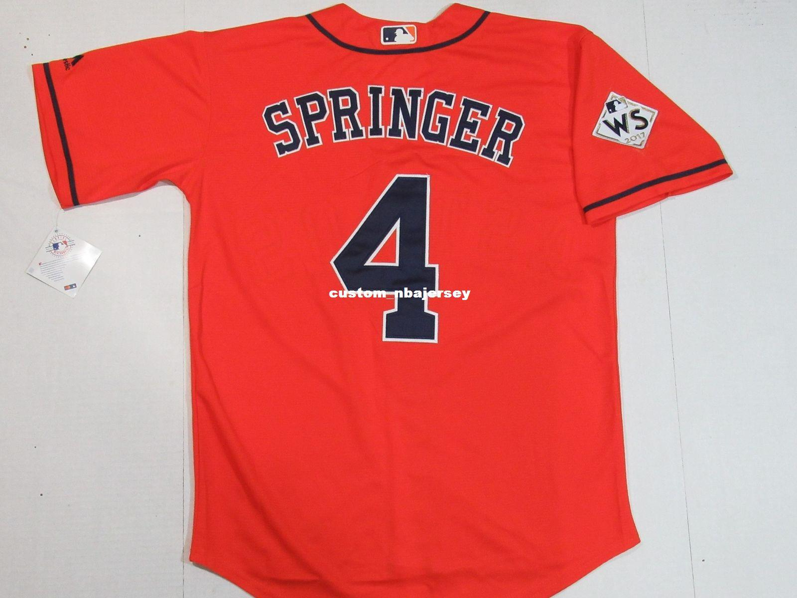 huge selection of fb67f 742ac Cheap Custom George Springer #4 World Cool Base jerseys Orange Stitched  Retro Mens jerseys Customize any name number