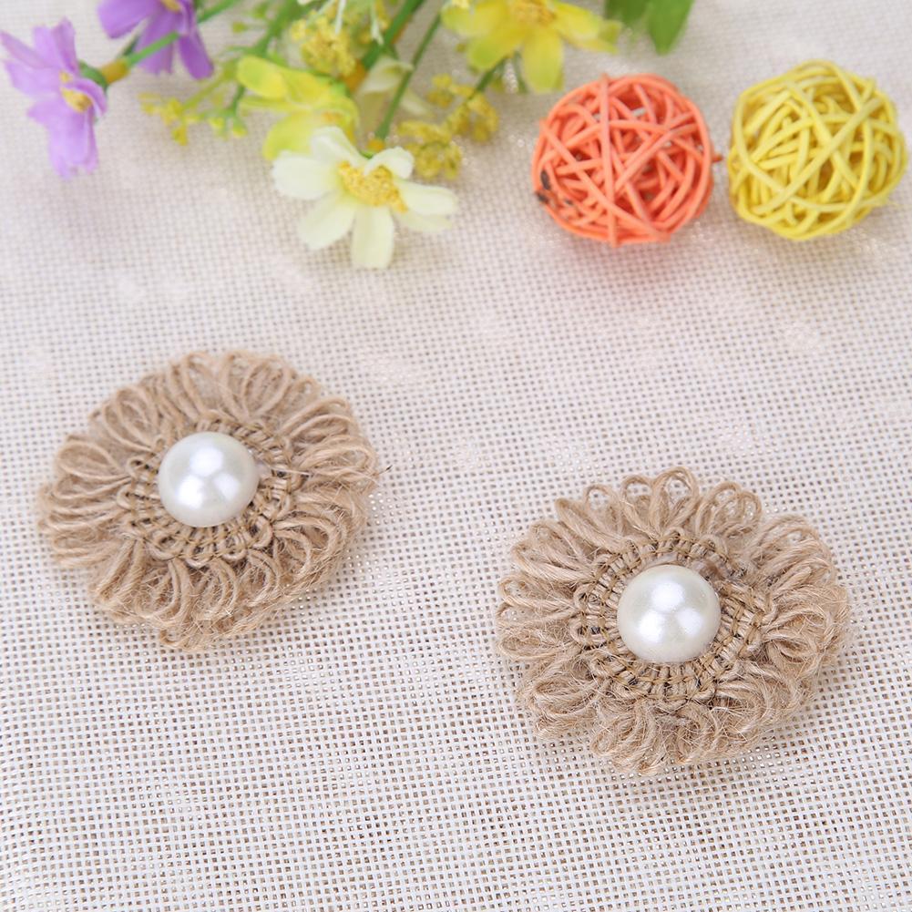 DIY Handmade Newborn Headband Burlap Flowers Hair Jute Flowers Wedding Party Decoration Home Ornaments Supply