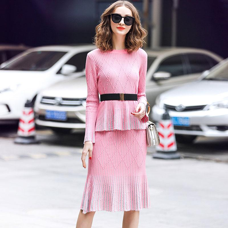 777d99c84516 2019 Two Piece Set Women Skirt Sets Clothing Sets Women 2019 Two Piece  Outfits Skirt And Top Pink Ol Horn Sleeve Bright Silk Knit From Pamele, ...