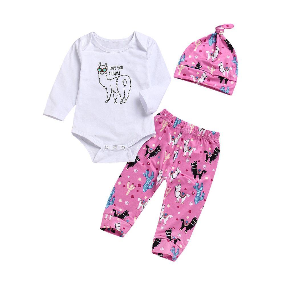 0f38cd101 2019 Mikrdoo Newborn Infant Baby Girl Boy Outfits Llama Print Long ...