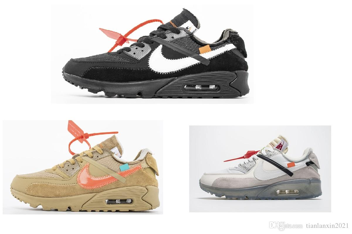 Nike air max 90 vapormax Off white Flyknit Utility sneaker Off White LIGHTS BLACK Zapatillas de deporte de platino metálico para hombres, mujeres,