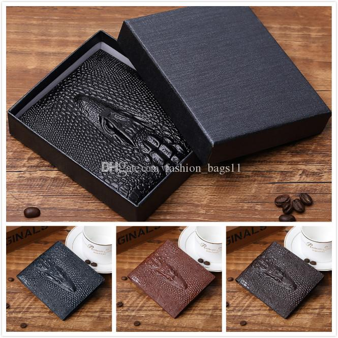 bc69a1550311 New Mens Wallet Male Genuine Leather Luxury Wallet Casual Alligator Short Designer  Wallet Card Holder Pocket Fashion Purse Wallets For Men Giani Bernini ...