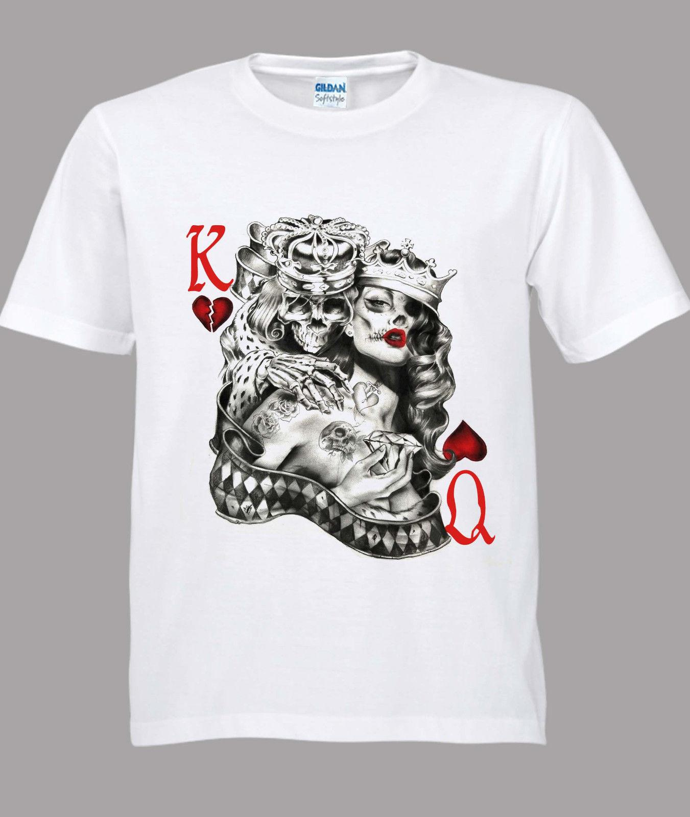 1a8fa4189 King & Queen Of Hearts Tattoo Sugar Skull Poker Playing Card White Tshirt S  3XL Coolest T Shirt Shirts With Designs From Twofulcup, $16.24| DHgate.Com