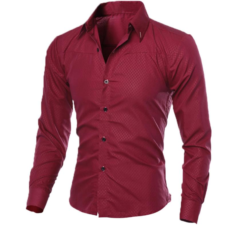 Hot New Fashion Men Luxury Slim Fit Shirt Male Camisa Masculina Casual Formal Business Long Sleeve Dress Shirts Plus Size