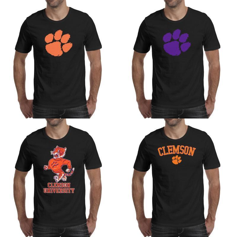 Mens printing Clemson Tigers Arch & Logo black t shirt Funny Awesome Friends Shirts Party University logo College Football Playoff 2018