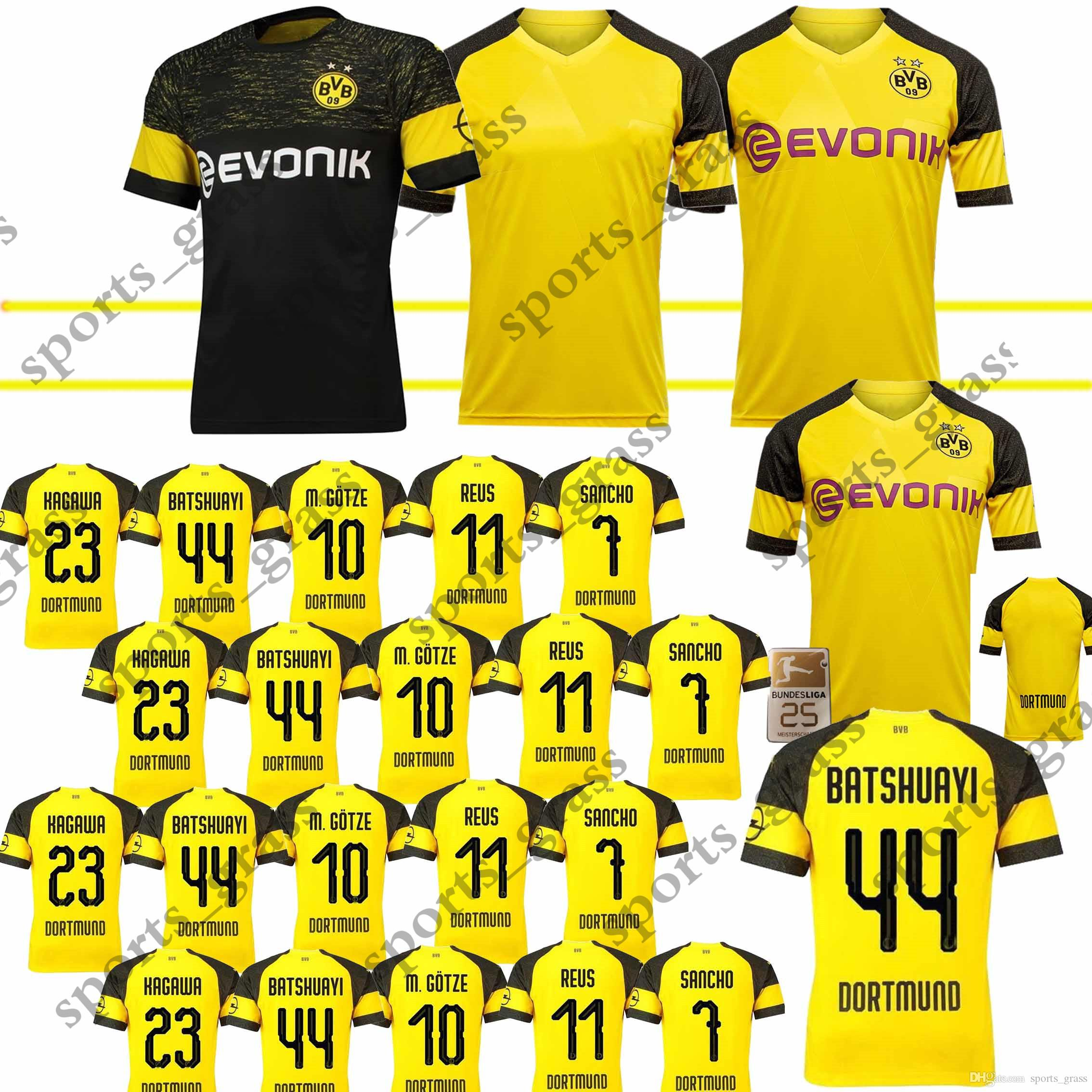 size 40 09d52 dc16c Top quality BVB Borussia Dortmund Soccer Jersey 2019 PHILIPP GOTZE REUS  PULISIC WITSEL Jersey 18 19 PACO ALCACER Football kit shirt