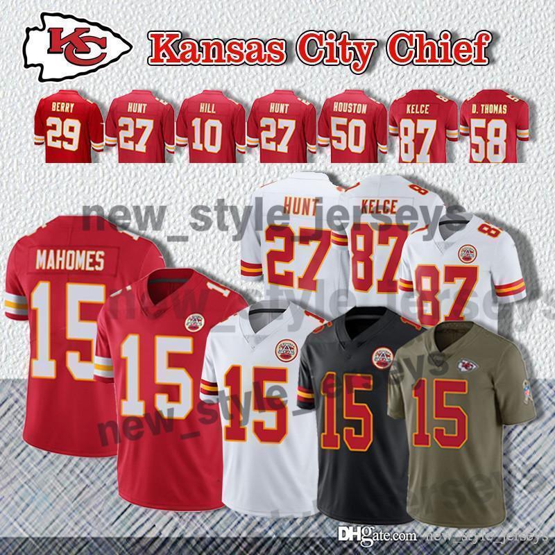 the best attitude 9356e 4ea4c 15 Patrick Mahomes Kansas City 87 Travis Kelce 50 Justin Houston Chiefs  Jersey 27 Kareem Hunt 10 Tyreek Hill Football Jerseys