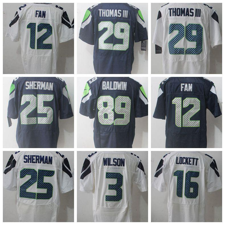 quality design 5af13 b85f2 Jersey 29 Earl Thomas III Seahawk 25 Richard Sherman 89 Doug Baldwin  Seattle 3 Russell Wilson 12th Fan 16 Lockett Jersey