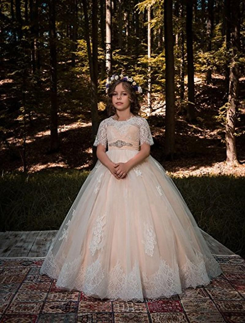 Bianco / Avorio Pizzo Champagne Tulle Bambini TUTU Flower Girl Abiti Mezza manica Party Princess Abito da damigella d'onore Wedding Occasionale Dress 18