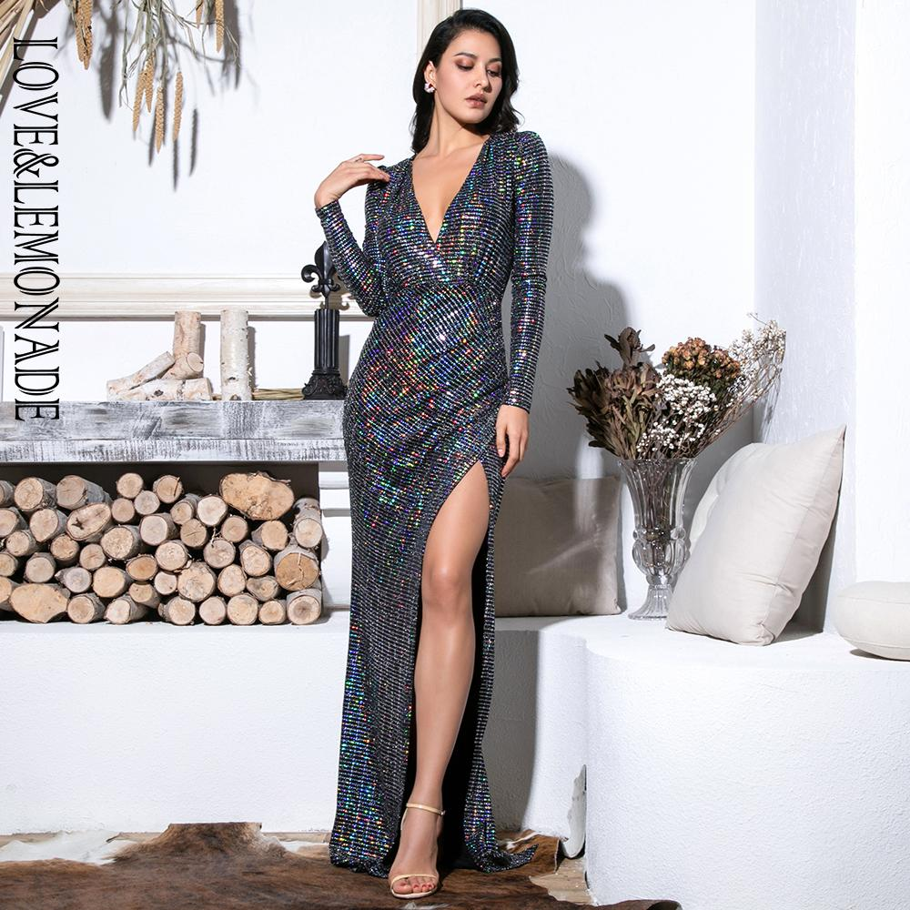 Love&Lemonade Sexy Deep V-Neck Cut Out Puff Sleeves Glitter Sequins Elastic Material Maxi Dress LM81715