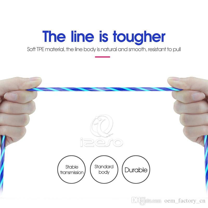 3ft 2A Magnetic Fast Charger Phone Cables LED Flowing Light Cable Charging Line Streamer Quick Charge Wire for Samsung S21 Huawei izeso