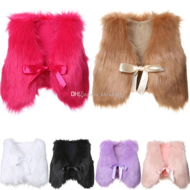 Chaude C5605 Bébé Enfants 6 Filles Outwear 5t Mode Manteau Fourrure Gilet Hiver Boutique Couleurs 1 Veste QrdBsxothC