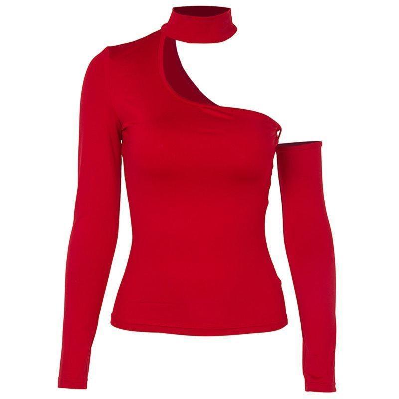 312287c95c294 Acheter Femmes Rouge Gothique Noir Hors Épaule T Shirt Top Printemps Mince  Élastique Bottoming Haute Rue Hipster Tee Shirts Tops C19041501 De $19.07  Du ...