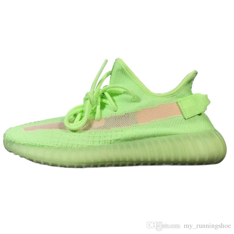 huge selection of 55997 19a82 2019 New GID V2 Kanye West Glow In The Dark Hyperspace Static Trainers  Green V2 Men Women Running Shoes Designer Sport Sneakers From  My runningshoe, ...