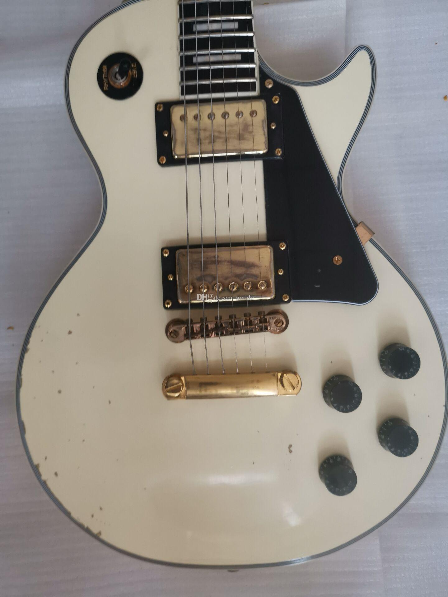 Custom Shop 1959 Heavy Relic White Cream Guitarra eléctrica Diapasón de ébano, cuello de una pieza, Little Pin Bridge, afinadores de oro Grover Schaller