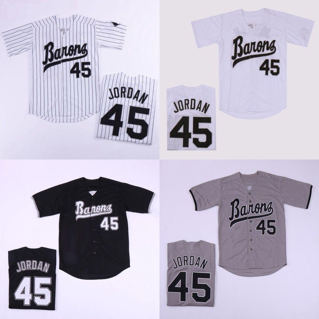 0c01073d20fe 2019 Birmingham Barons Michael 45  Jerseys Button Down Movie Black White  Grey Stitched Movie Baseball Jersey From Felixjerseys