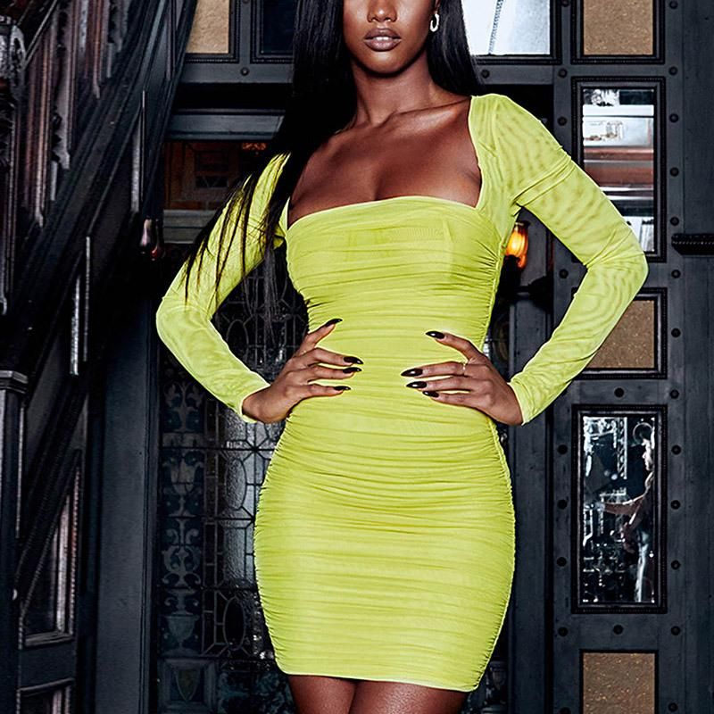 1162f54cae91 Neon Yellow Mesh Bodycon Dress Women Square Neck Ruched Mini Bandage Sexy  Dresses Woman Party Night Club Wear C66 I31 Ladies Dress Designer Dress  From ...