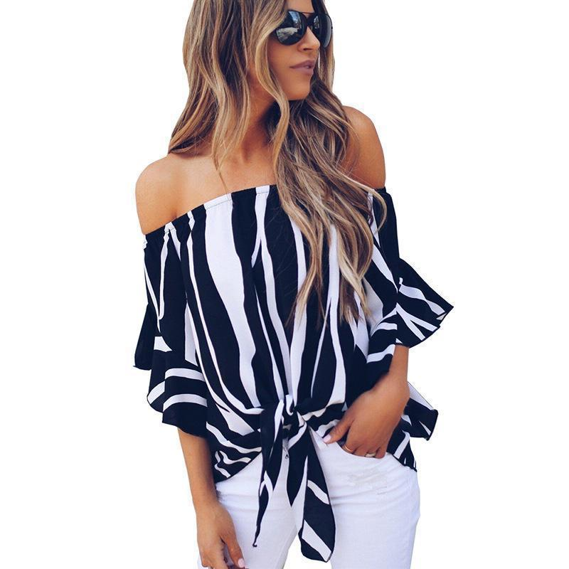6c048072d8 2019 Womens Tops And Blouses 2019 Summer Blouse Casual Chiffon Shirt  Striped Off Shoulder Top Slash Neck Women Shirts From Jamie19