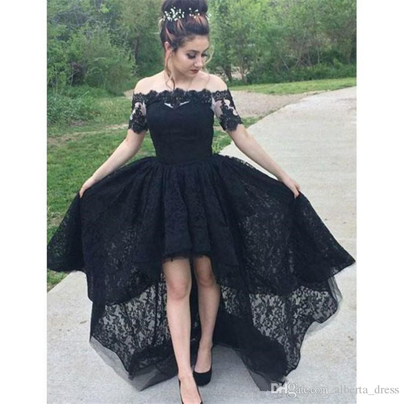 Retro Gothic Black Hi-Lo Off Shoulder Lace A-Line Wedding Dresses Sexy Short Sleeve Beach Women Bridal Gowns Custom Made