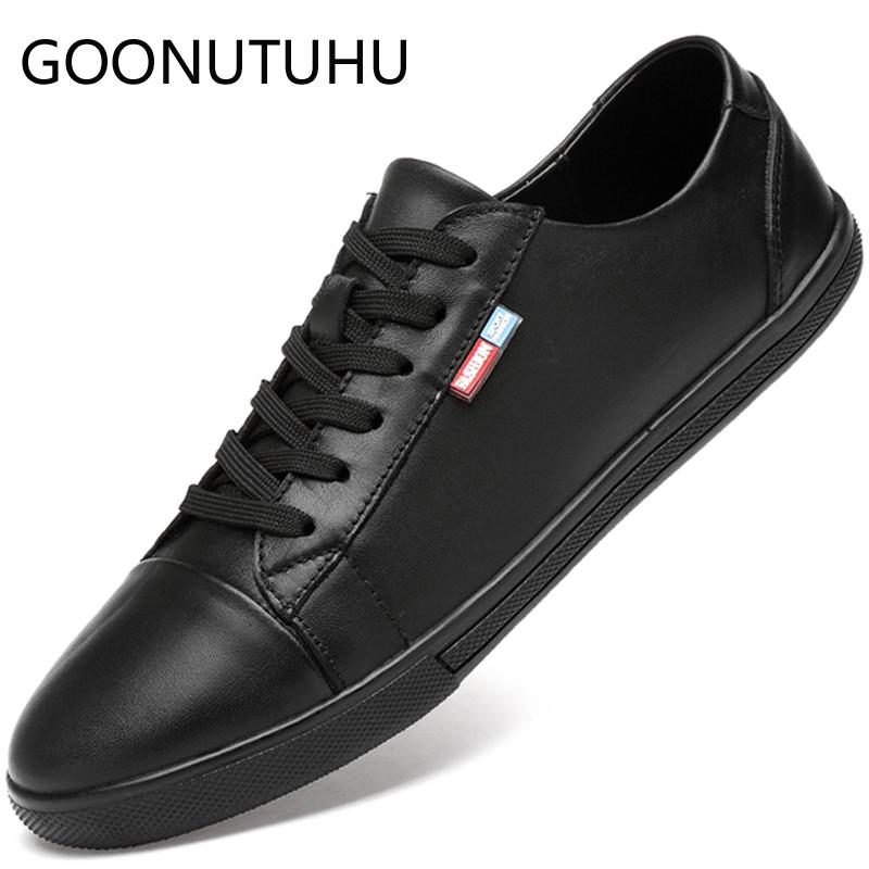 2019 new fashion men's shoes casual leather flat sneakers male white black lace up shoe man nice platform shoes for men hot sale