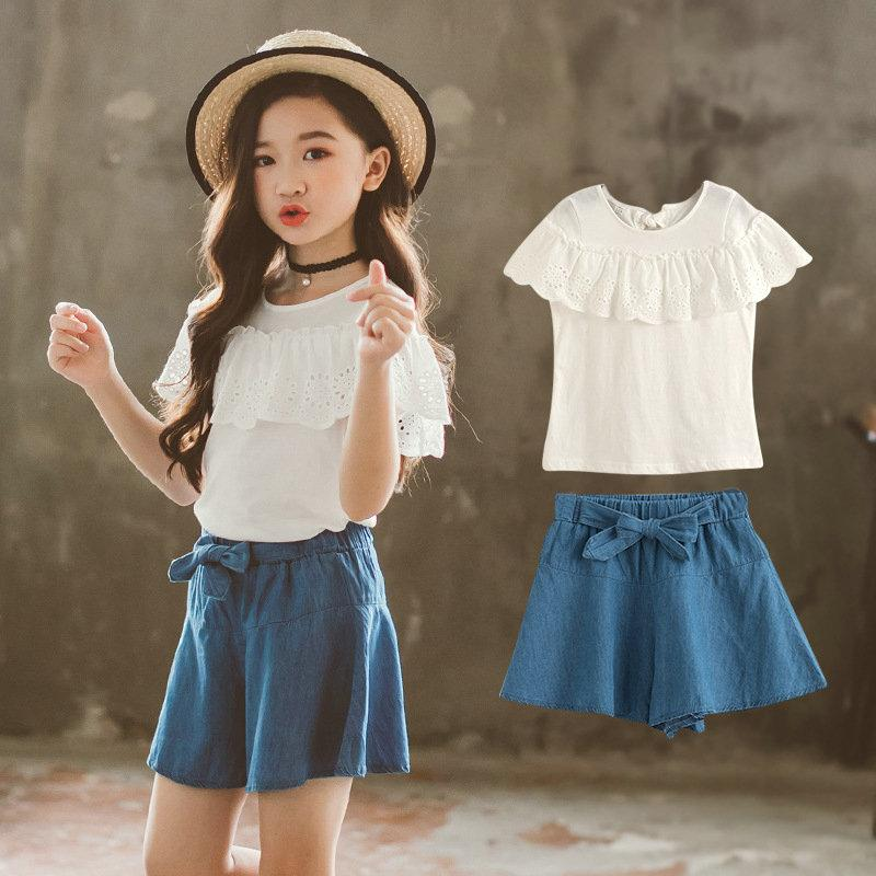 a4a4e9bc4ce 2019 Ruffles Denim Kids Sets Girl T Shirt And Jeans Chidren Sets Summer  Casual Girls Two Piece Set Plus Size Kids Clothes From Arraywu