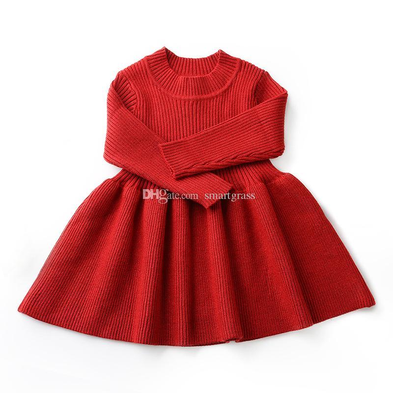 cf277e1f1 2019 Baby Girls Sweater Dress Knitted Long Sleeve Dress Autumn ...